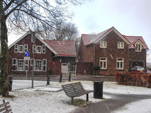 Snowfall in winter Dutch town Heerlen. Royalty Free Stock Photo