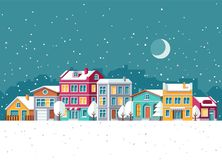 Snowfall in winter town with small houses cartoon vector illustration. Christmas holidays concept Stock Photo