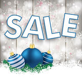 Snowfall Wood Blue Baubles Sale Royalty Free Stock Images