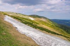 Snowfield i jätte- berg Arkivbild