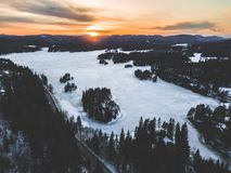 Snowfield Near Green Trees in Aerial Shot Stock Photography