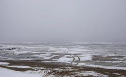 Snowfield scenery on big lake Stock Photos