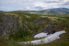 Snowfield in summer time Royalty Free Stock Photos