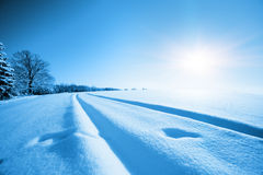 Snowfield and the sun Royalty Free Stock Images