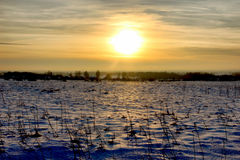 Snowfield sunset Royalty Free Stock Photos