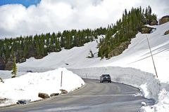 Snowfields Road. Rocky Mountains National Park Road in Early Summer. Colorado, USA Stock Photo