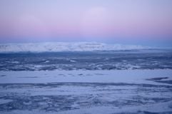 Snowfields in Siberia from helicopter Royalty Free Stock Image
