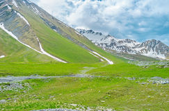 The snowfields on slopes Royalty Free Stock Image