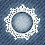 Snowflake δαντέλλα στο τζιν Στοκ φωτογραφία με δικαίωμα ελεύθερης χρήσης