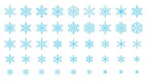 Snowflake απλό διανυσματικό σύνολο χιονιού εικονιδίων γραμμών χρώματος ελεύθερη απεικόνιση δικαιώματος