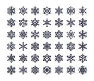 Snowflake επίπεδα εικονίδια καθορισμένα Συλλογή χαριτωμένα γεωμετρικά snowflakes, τυποποιημένες χιονοπτώσεις Στοιχείο σχεδίου για απεικόνιση αποθεμάτων
