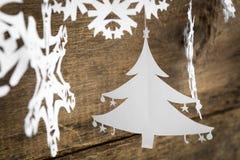 Snowflake διακοσμήσεων Χριστουγέννων, ένωση εγγράφου χριστουγεννιάτικων δέντρων Στοκ Εικόνα