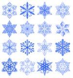 Snowflake μπλε σύνολο Στοκ φωτογραφία με δικαίωμα ελεύθερης χρήσης