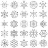 Snowflake που τίθεται διανυσματικό στο ύφος zentangle 25 αρχικές νιφάδες χιονιού διανυσματική απεικόνιση