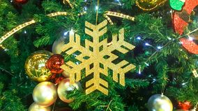 Snowflake στο χριστουγεννιάτικο δέντρο Στοκ εικόνες με δικαίωμα ελεύθερης χρήσης