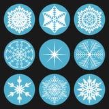 Snowflake συλλογής στον κύκλο διανυσματική απεικόνιση
