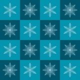 Snowflake σχέδιο Άνευ ραφής διανυσματικό ελεγμένο χειμερινό υπόβαθρο Στοκ Φωτογραφία