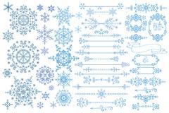 Snowflake, σύνορα, σύνολο πλαισίων Χειμερινό doodles ντεκόρ Στοκ εικόνα με δικαίωμα ελεύθερης χρήσης