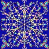 Snowflake υπόβαθρο με τη χρυσή διακόσμηση και τα λαμπιρίζοντας κοσμήματα Στοκ Εικόνες