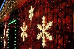 Snowflake φω'τα Χριστουγέννων Στοκ Φωτογραφία