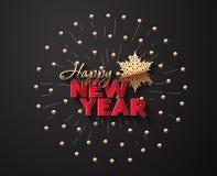 Snowflake, χαιρετισμός και χάντρες για το νέο έτος απεικόνιση αποθεμάτων