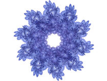 Snowflake. Abstract fractal snowflake in blue tone on the white Stock Photo