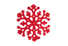 Snowflake. Red snowflake is on a white background Stock Photography