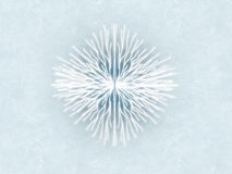 Snowflake 2. White glowing snowflake with blue gradient cracked ice background stock illustration