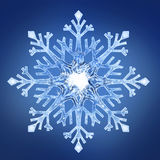 Snowflake 2. Single geometrical snowflake with blue background royalty free stock photo