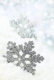 Snowflake. On the snow background Stock Photos