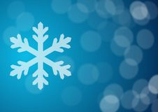 Snowflake. On blue bokeh lights background Stock Images