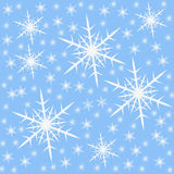 Snowflake. Nice blue background with many big and little snowflake Royalty Free Stock Photography