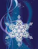 The Snowflake. One large ornate snowflake on a dark blue background with sparkles and ribbons Stock Photography