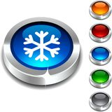 Snowflake 3d button. Stock Images