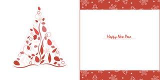 Ευτυχές νέο δέντρο πεύκων ετών με τα κόκκινα φύλλα και snowflake το διάνυσμα ευχετήριων καρτών Στοκ Φωτογραφία