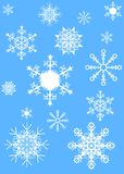 Snowflake. Background with various snowflakes vector Royalty Free Stock Photography