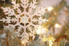 Snowflake. Christmas tree ornament with lights Stock Image