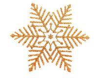 Snowflake. Gold brocade snow star isolated on white stock illustration