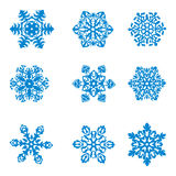 Snowflake. Set from nine elegant snowflakes. Vector Royalty Free Stock Photos
