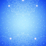 Snowflake abstract blue background. With glow and snowfall Stock Image