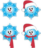 4 snowflake in animation interpreta Royalty Free Stock Photo