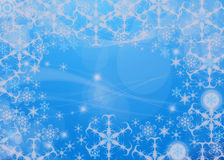 Snowflake background. Blue background with white snowflake border Stock Photo