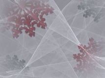 Snowflake Background 2. A Christmas background of red and green snowflakes under folds of sheer white fabric Royalty Free Stock Photos