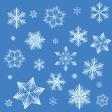 Snowflake background. Illustration of snowflakes on a blue background Stock Images