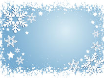 Snowflake background. Winter themed background with snowflakes and stars Stock Photo