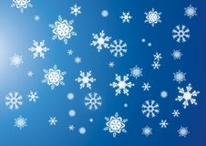 Snowflake background. Snowflakes on the blue background Stock Images