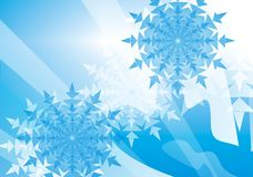 Snowflake background. A blue and white background with snowflakes Royalty Free Stock Image