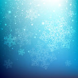 Snowflake background. Blue snowflake background with lights Stock Photography