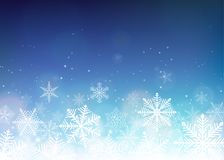 Snowflake background. Blue winter christmas backdrop. Vector illustration Stock Photography