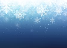 Snowflake background. Blue winter christmas backdrop. Vector illustration Stock Photo